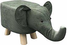 CLIPOP Elephant Footstool Upholstered Ottoman Foot