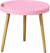 CLIPOP Pink Round Side Table Small Coffee Table