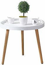 CLIPOP White Round Side Table, Small Coffee Table