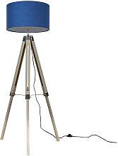 Clipper LED Tripod Floor Lamp in Light Wood - Blue