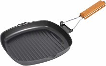CLISPEED Non Stick Square Grill Pan with Wooden