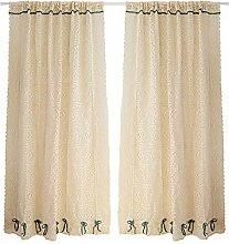 CLJ Bohemian Style Tier Curtain Hollow Beige White