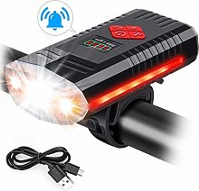Clkdasjd USB Rechargeable Bike Lights with Bell,
