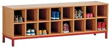 Cloakroom Bench With 16 Open Compartments  , Beech/White
