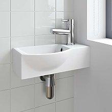 Cloakroom Corner Wall Hung Basin Hand Wash Sink