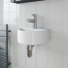 Cloakroom Wall Hung Basin Sink Hand Wash Round 1