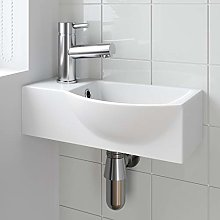 Cloakroom Wall Hung Corner Basin Hand Wash Sink 1