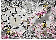 Clock Floral Bird Yellow Kitchen Worktop Protector