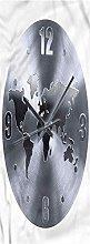 Clock Kitchen Mat, 2'x4', World Map Clock