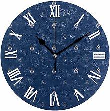 Clock Navy Foral Wall Clocks for Living Room Decor