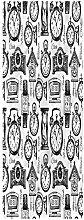 Clock Runner Rug, 2'x6', Hand Drawn Clocks