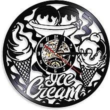 Clock Wall Vinyl Record Ice Cream Shop Business
