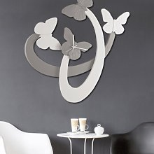 Clock WHITE BUTTERFLIES AND TAUPE P4794 PINTDECOR