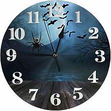 Clock Wooden Floor with Spooky Halloween Battery