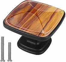 Close Teak Wood Textured Drawer Knob Pull Handle