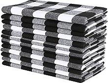 Cloth Dinner napkins 12 Pack Gingham Check-Black
