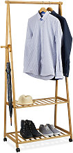 Clothes Stand on Wheels, Bamboo, 2 Shoe Shelves,