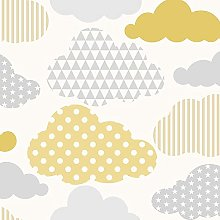 Clouds Wallpaper Yellow / Grey Graham and Brown