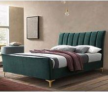 Clover Fabric Double Bed In Green Velvet