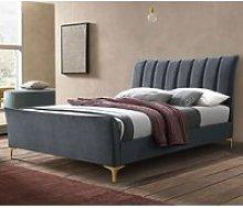 Clover Fabric Double Bed In Grey Velvet