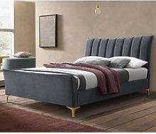 Clover Fabric King Size Bed In Grey Velvet