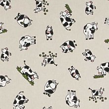 Clover Field Cows - 1/2 Metre - Natural Cotton
