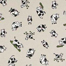 Clover Field Cows - 1 Metre - Natural Cotton Linen