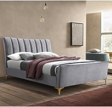 Clover Grey Velvet Fabric Bed Frame - 4ft Small