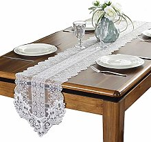CLQya White Lace Table Runner, for Parties and