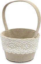 Club Green Linen Round Basket with LACE