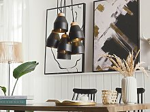 Cluster Pendant Lamp Black Metal and Light Wood 6