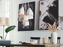 Cluster Pendant Lamp White Metal and Light Wood 6