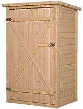 cm Fir Wood Compact Storage Shed w/ 2 Shelves Lock