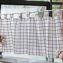 CMJM Cotton Linen Kitchen Curtain Valances White