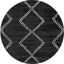 CMX-BOX Black Contemporary Round Area Rug Non-slip