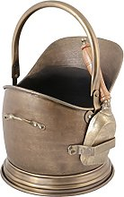 Coal Bucket Antique Brass Scuttle With Wooden
