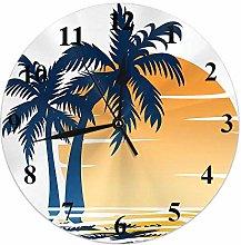 Coastal Clock Palm Tree Waves in The Beach at