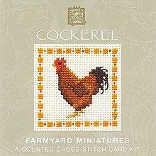Cockerel Counted Cross Stitch Card Kit - Farmyard