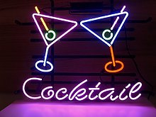 Cocktail Martini Real Glass Neon Light Sign Home