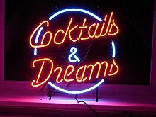 COCKTAILS AND DREAMS Real Glass Neon Light Sign