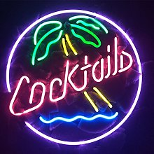 COCKTAILS PALM TREE Real Glass Neon Light Sign
