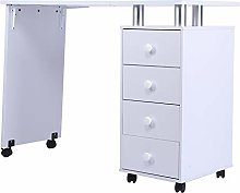 Cocoarm Portable Nail Table, Modern Desk with 4