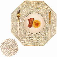 COCOHOME Gold Placemats and Coaster Sets, PVC