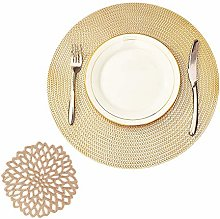 COCOHOME Gold Placemats and Coaster Sets, Round