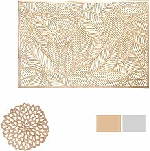 COCOHOME Placemats and Coaster Sets, Gold PVC