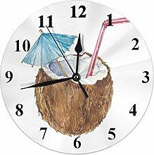 Coconut Clock Tropical Summer Hawaii Beach Fruit