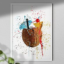 Coconut - Cocktail Wall Art Print - A3 Print Only