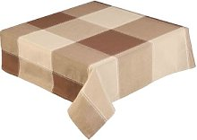 Coffee and Brown Check Tablecloth 52 Inch Round