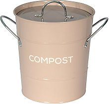 Coffee (Brown) Metal Kitchen Compost Caddy -