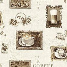 Coffee Cappuccino Mocha Wallpaper Embossed Vinyl